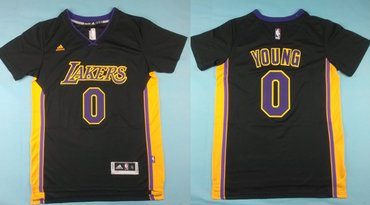 4d5308ce2 Los Angeles Lakers  0 Nick Young Revolution 30 Swingman 2014 New Black With Purple  Short-Sleeved Jersey