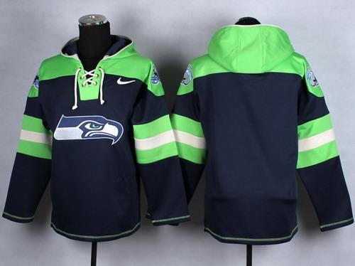 Nike Seattle Seahawks Blank 2014 Navy Blue Hoodie