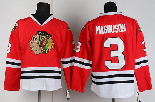 Chicago Blackhawks  3 Keith Magnuson Red Throwback CCM Jersey a29570e4e