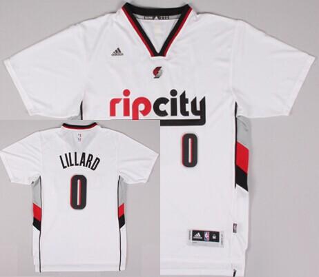 Portland Trail Blazers  0 Damian Lillard Rip City Revolution 30 Swingman  2014 New White Short-Sleeved Jersey 493a7eb19