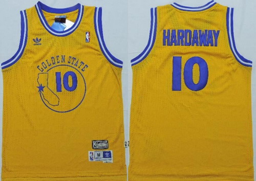 golden state warriors 10 tim hardaway yellow swingman throwback jersey