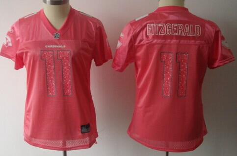 Arizona Cardinals #11 Larry Fitzgerald Pink Womens Sweetheart Jersey