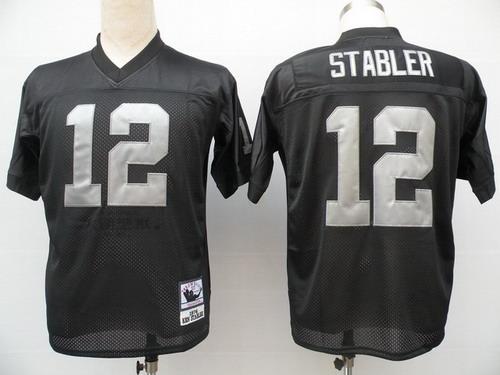 quality design 97903 f0e05 Oakland Raiders #12 Ken Stabler Black Throwback Jersey on ...