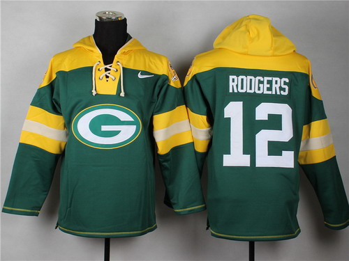 Nike Green Bay Packers #12 Aaron Rodgers 2014 Green Hoodie