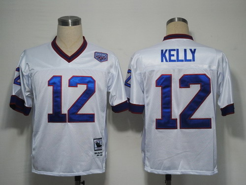 sale retailer 992ad c9985 Buffalo Bills #12 Jim Kelly White Throwback Jersey on sale ...