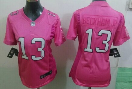 sneakers for cheap c6a08 aca7a Nike New York Giants #13 Odell Beckham Jr Pink Love Womens ...