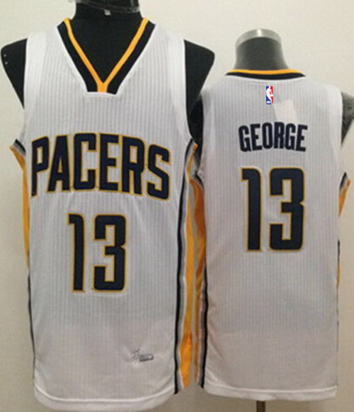 bf9068406 Indiana Pacers #24 Paul George Revolution 30 Swingman White Jersey ...
