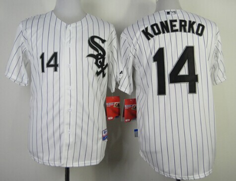 Chicago White Sox #14 Paul Konerko White With Red Pinstripe Jersey