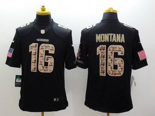 brand new d713b 9e7b3 Nike San Francisco 49ers #16 Joe Montana Salute to Service ...