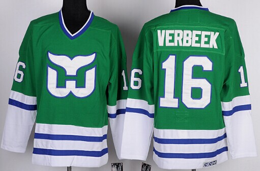 Hartford Whalers #16 Pat Verbeek Green Throwback CCM Jersey