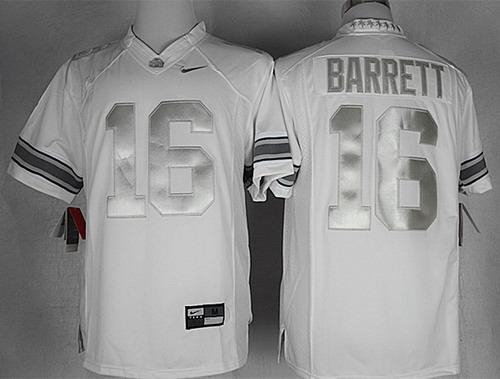 on sale 5e963 d0f5c Ohio State Buckeyes #16 J.T. Barrett Platinum White Limited ...