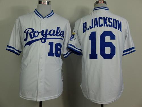 b3a13e638 Kansas City Royals #16 Bo Jackson 1980 White Throwback Jersey on ...
