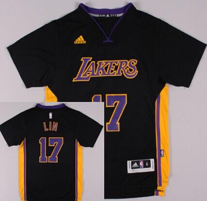 Los Angeles Lakers  17 Jeremy Lin Revolution 30 Swingman 2014 New Black  With Purple Short-Sleeved Jersey abc58e54b