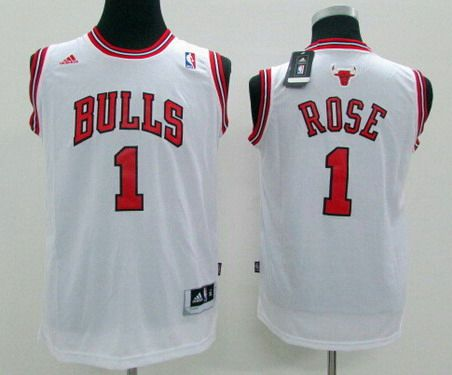 buy online 645c6 4826c Youth Chicago Bulls #1 Derrick Rose White Jersey on sale,for ...