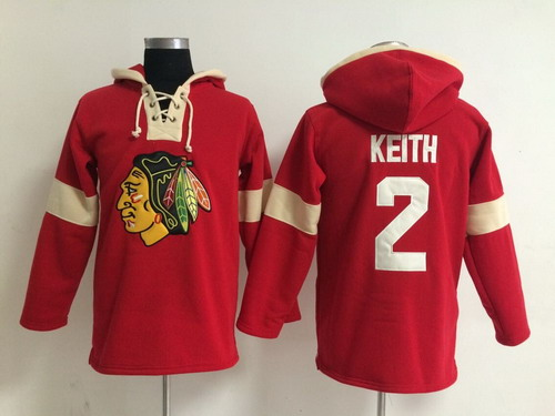 2014 Old Time Hockey Chicago Blackhawks #2 Duncan Keith Red Hoodie