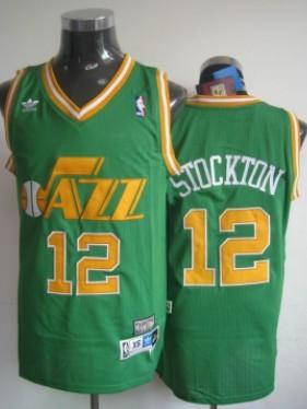 quality design 5fd55 ace2b Utah Jazz #12 John Stockton Green Swingman Throwback Jersey ...