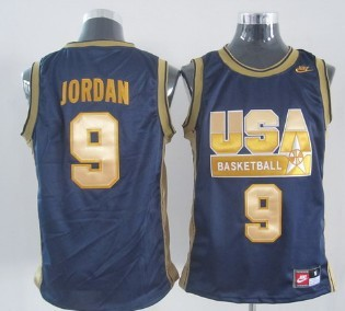 best website 659b6 36812 1992 Olympics Team USA #9 Michael Jordan Navy Blue With Gold ...