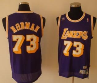 Los Angeles Lakers #73 Dennis Rodman Purple Swingman Throwback ...