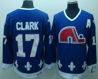 Quebec Nordiques #17 Wendel Clark Navy Blue Throwback CCM Jersey