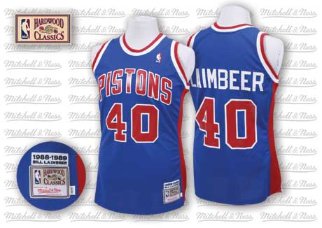 Detroit Pistons  40 Bill Laimbeer Blue Swingman Throwback Jersey 0d590ef58