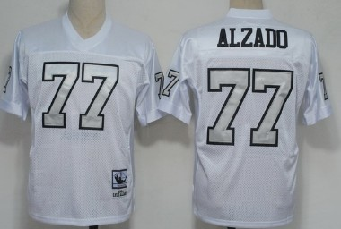 best sneakers e6181 db307 Oakland Raiders #77 Lyle Alzado White With Silver Throwback ...