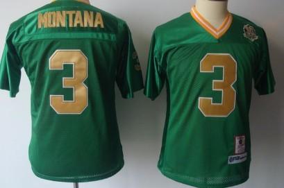 9ee65261975 Notre Dame Fighting Irish #3 Joe Montana Green Throwback Kids Jersey ...