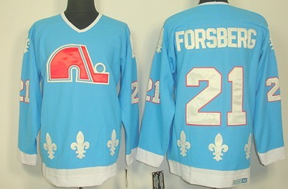 Quebec Nordiques  21 Peter Forsberg Light Blue Throwback CCM Jersey a81704ec8