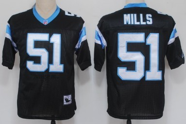 finest selection 31ff3 6671e Carolina Panthers #51 Sam Mills Black Throwback Jersey on ...