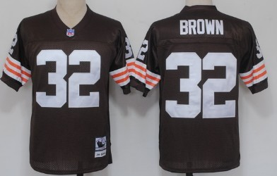 buy online f72de 55745 Cleveland Browns #32 Jim Brown Brown Short-Sleeved Throwback ...