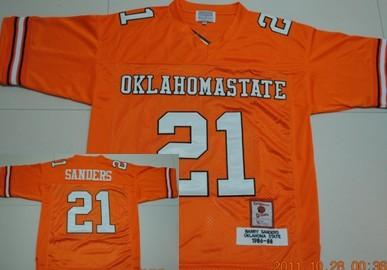 quality design 9ed03 96366 Oklahoma State Cowboys #21 Barry Sanders Orange Throwback ...