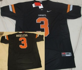 Oklahoma State Cowboys #3 Isaac Maselera Black Jersey