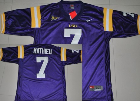 brand new 29cd7 19aa4 LSU Tigers #7 Tyrann Mathieu Purple Jersey on sale,for Cheap ...