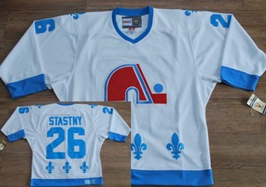 Quebec Nordiques  26 Peter Stastny White With Light Blue Throwback CCM  Jersey 782acd216