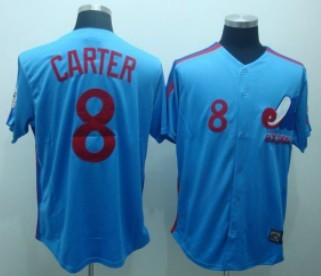 Montreal Expos #8 Gray Carter 1982 Blue Throwback Jersey