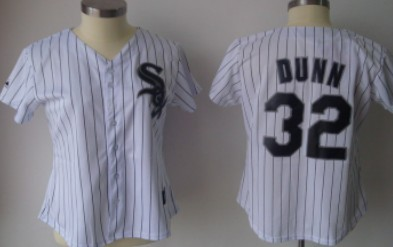 Chicago White Sox #32 Dunn White With Black Pinstripe Womens Jersey