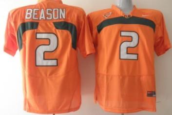 Miami Hurricanes #2 Jon Beason Orange Jersey