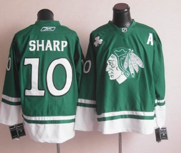 cheap for discount f7018 6078d Chicago Blackhawks #10 Patrick Sharp St. Patrick's Day Green ...