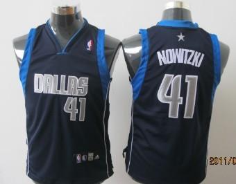 Dallas Mavericks #41 Nowitzki Navy Blue Kids Jersey