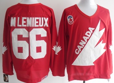 Team Canada #66 Mario Lemieux 1991 Olympic Red Throwback CCM Jersey