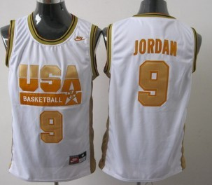 new concept c3da7 81c0b 1992 Olympics Team USA #9 Michael Jordan White With Gold ...