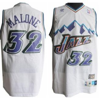 online store 2e420 31ad1 Utah Jazz #32 Karl Malone Mountain White Throwback Swingman ...