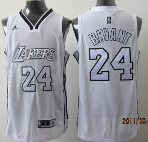size 40 deb23 3d5ea Los Angeles Lakers #24 Kobe Bryant White With Silvery ...