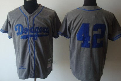 new style 7837f 5cb5a Los Angeles Dodgers #42 Jackie Robinson 1955 Gray Wool ...