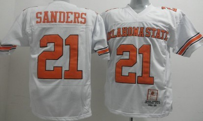 Oklahoma State Cowboys #21 Barry Sanders White Throwback Jersey