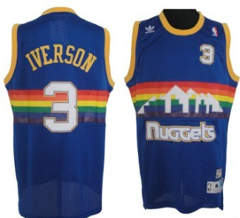 Denver Nuggets  3 Allen Iverson Blue Rainbow Swingman Throwback Jersey a57e67ecf