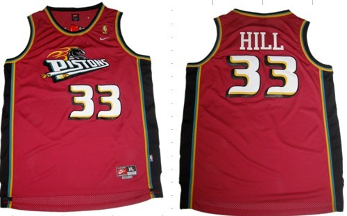 san francisco 620cb 19ec9 Detroit Pistons #33 Grant Hill Red Swingman Throwback Jersey ...