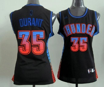 Oklahoma City Thunder #35 Kevin Durant Vibe Black Fashion Womens Jersey