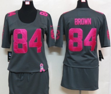 ... shop nike pittsburgh steelers 84 antonio brown breast cancer awareness  gray womens jersey fe83a 67083 f155f4842
