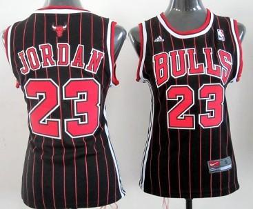 promo code 64f44 5e9b2 Chicago Bulls #23 Michael Jordan Black Pinstripe Womens ...