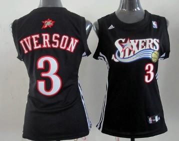 Philadelphia 76ers #3 Allen Iverson Black Womens Jersey